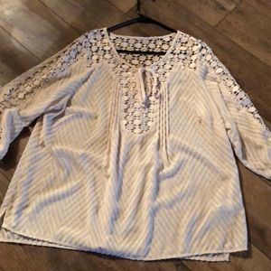 Tops - Sheer cream xl blouse.  Lace detail